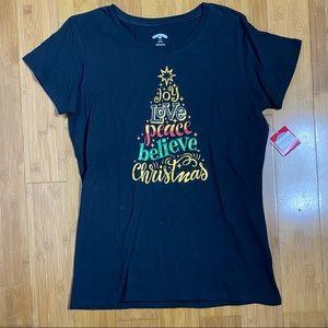 NWT Holiday Time Christmas Tree Top black L(12-14)